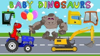 Stone-Giant and Baby-Dinosaurs. Street Vehicles and Construction Machines for kids - Thank you