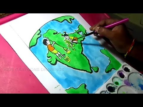 How to Draw Clean India, Green India Poster Color Drawing for Kids