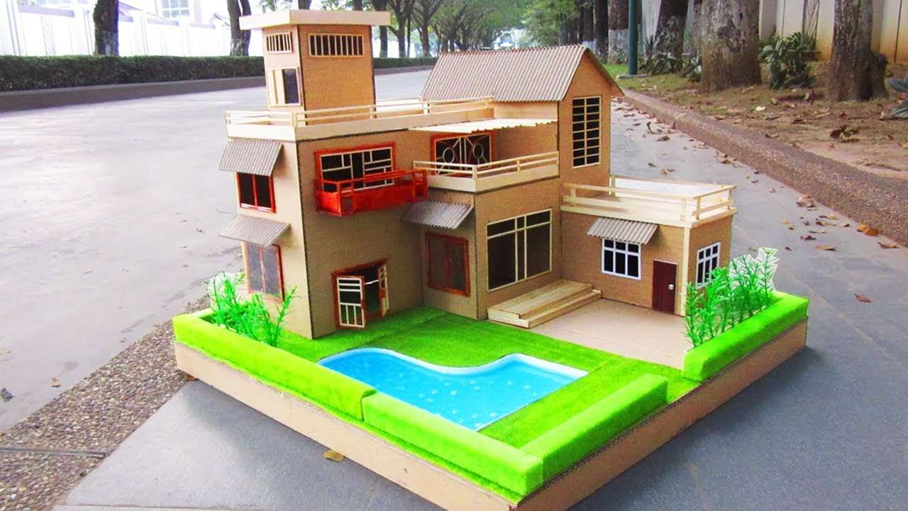 Building Most Beautiful Dream House From Cardboard Wooden Stick School Project Model 11