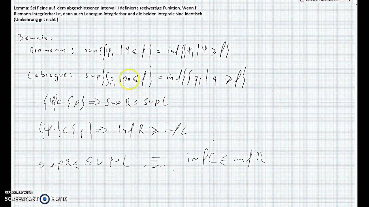 Lebesgue Integral Berechnen
