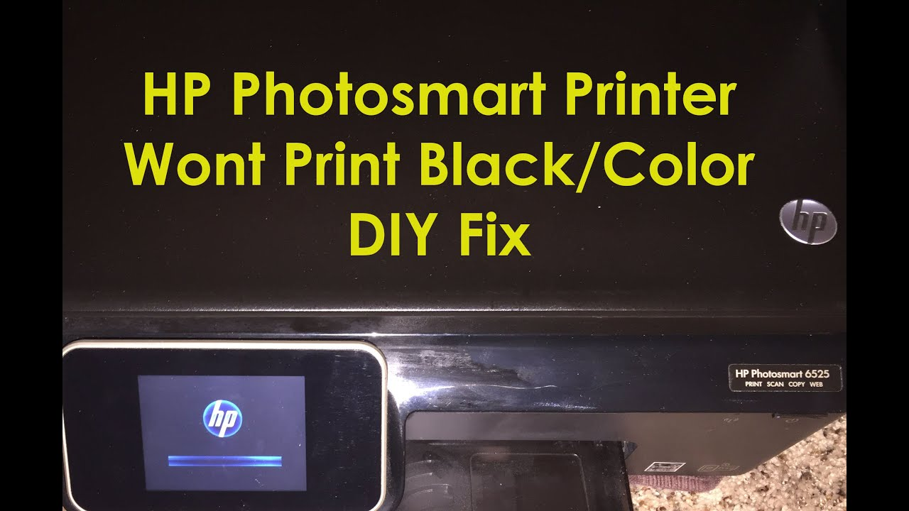 HP Photosmart 6525 6520 Printer Not Printing Black Ink