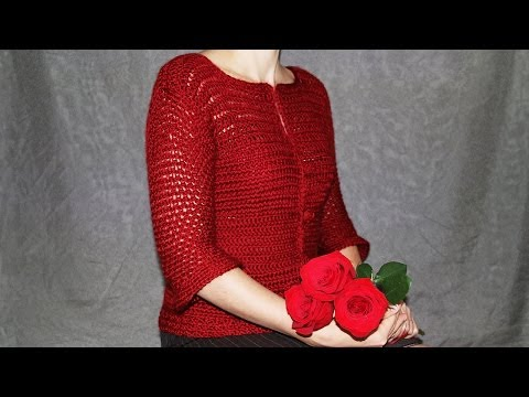 How to crochet women's cardigan - video tutorial with detailed instructions.
