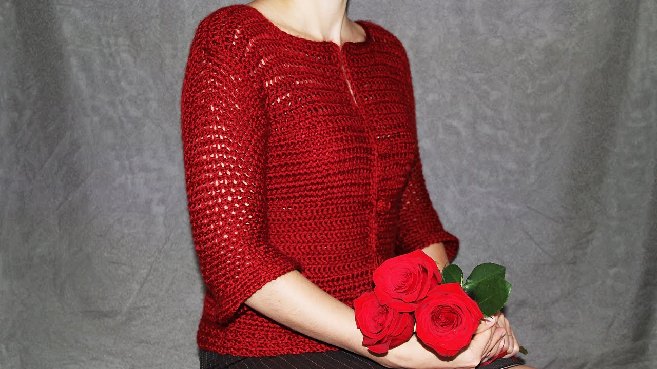 c6b8a4aa80d4 How to crochet women s cardigan - video tutorial with detailed ...
