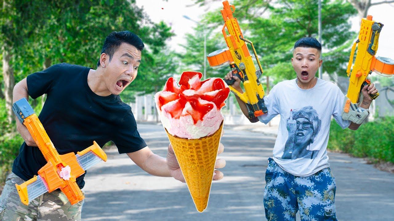 Battle Nerf War: Airman & Blue Police Competition Nerf Guns Burglars Group ICE CREAM BATTLE