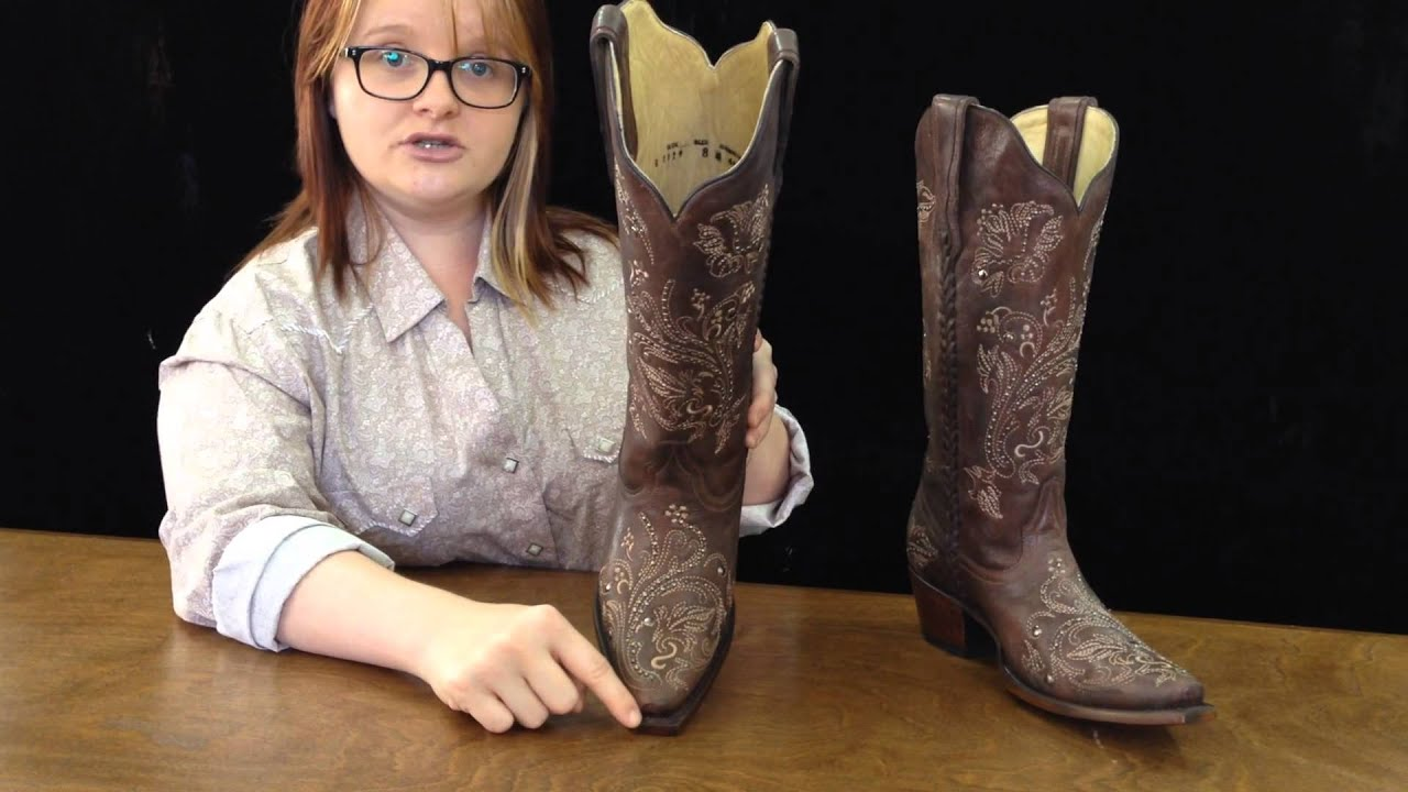 G1129 Cowboy Boots Corral G1129 Chocolate Floral Whip Stitch ...