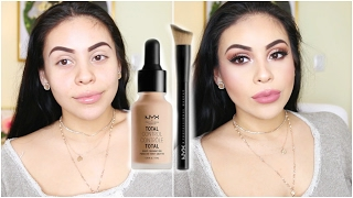 NEW NYX TOTAL CONTROL DROP FOUNDATION FIRST IMPRESSION, REVIEW, DEMO + WEAR TEST! | JuicyJas