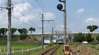 弘南鉄道弘南線7000形7022F普通弘前行き第18列車田んぼアート到着