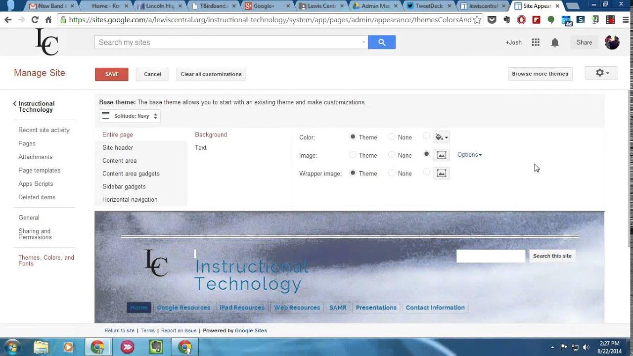 Google themes.org - Customizing Google Sites Themes
