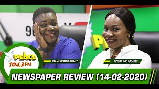 Newspaper Review On Peace 104.3 fm (14/02/2020)
