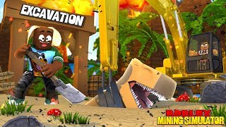 ROBLOX MINING SIMULATOR - DONUT DIGS TOO DEEP THAT HE FIND A T-REX BURIED UNDER GROUND