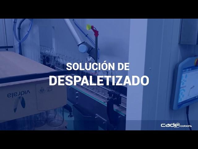 Solución de automatización para despaletizado de botellas - CADE Cobots
