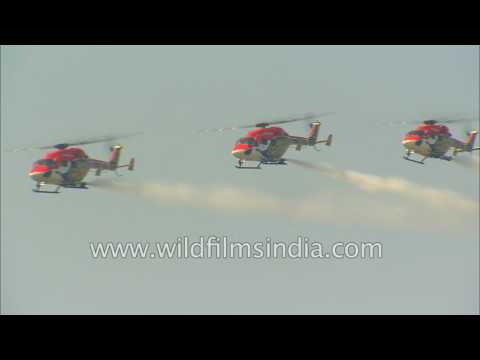 Indian Air Force helicopters entertain with daring stunts