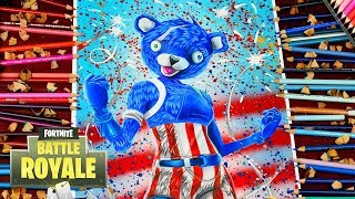 Drawing Fortnite Battle Royale - Fireworks Team Leader New Crazy Skin! Loving Blue teddy bear