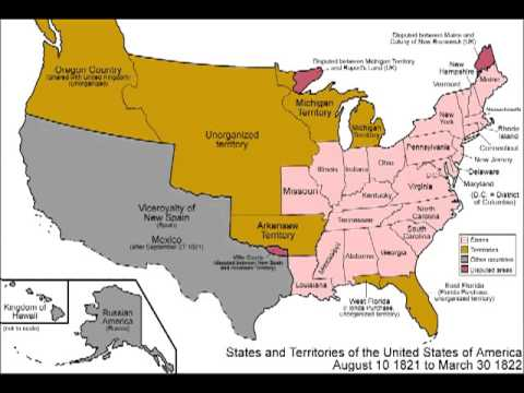 US Border History YouTube - Map of us in 1821
