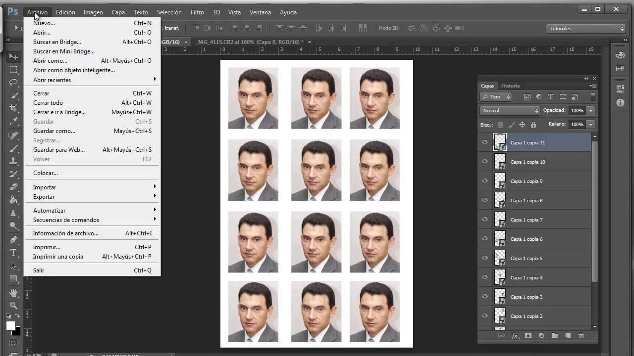Plantilla objeto inteligente para imprimir fotos de carnet con ...