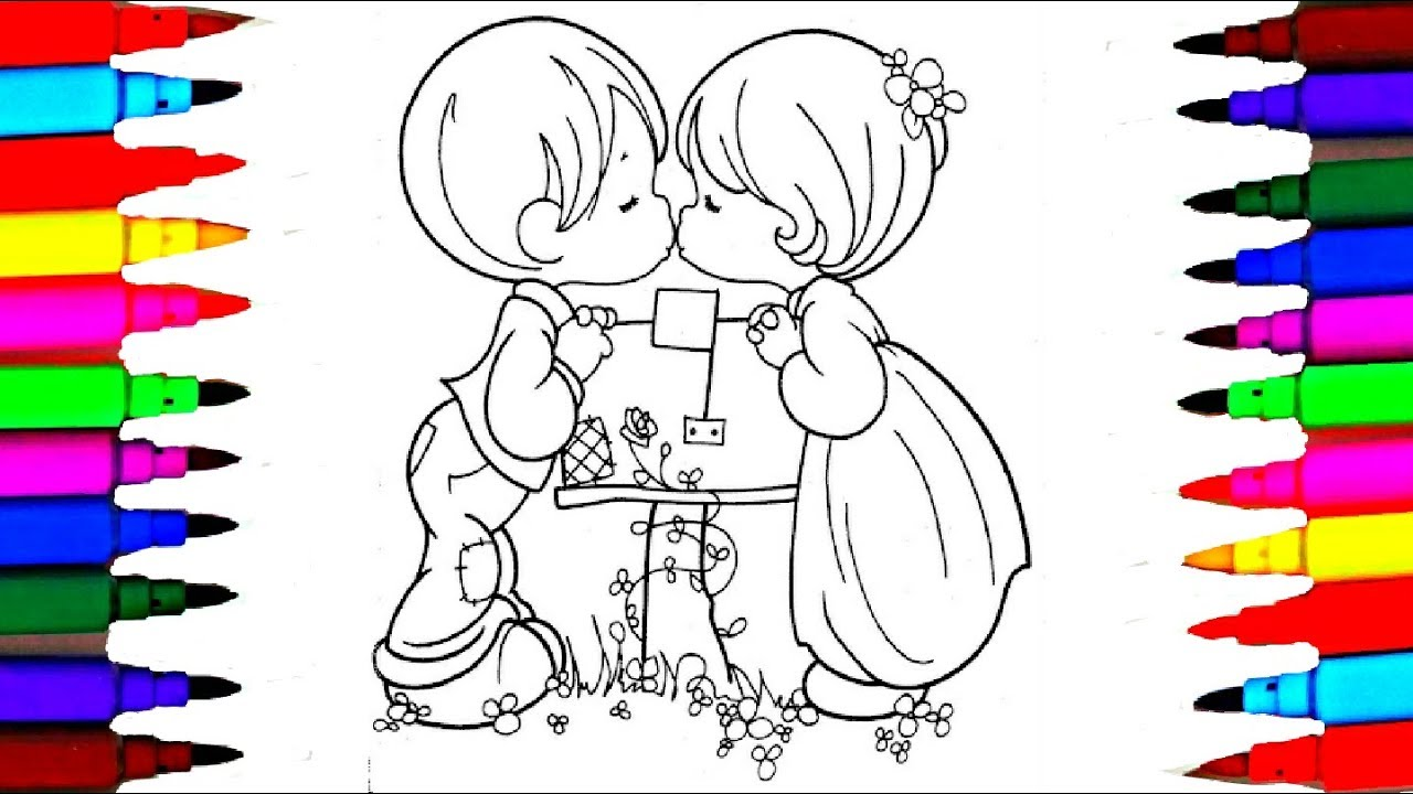 How to Draw and Color Boy and Girl Valentine l Coloring Drawing ...