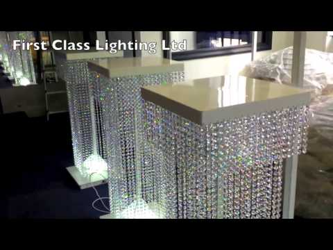 Led Custom Bespoke Crystal Wedding Pillars Chandelier by First Class Lighting Ltd