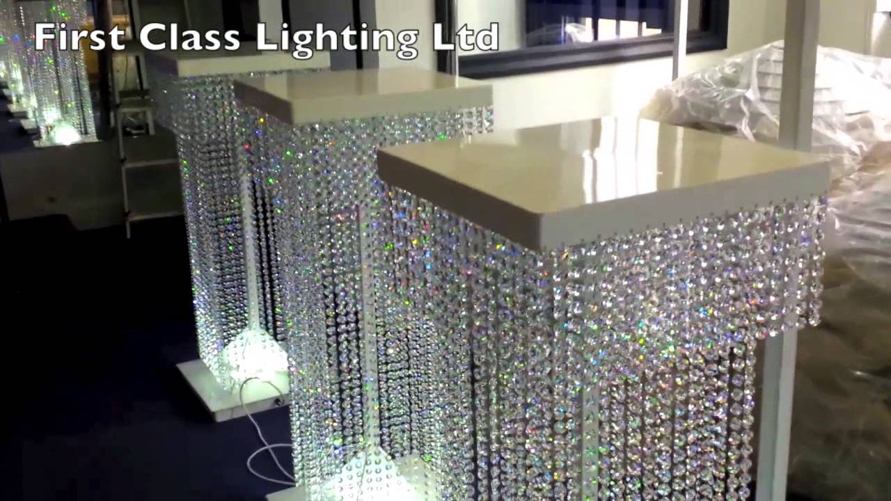 How To Make Diy Lighted Wedding Columns.Led Custom Bespoke Crystal Wedding Pillars Chandelier By First Class Lighting Ltd