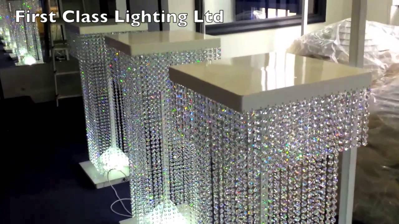Led Custom Bespoke Crystal Wedding Pillars Chandelier by