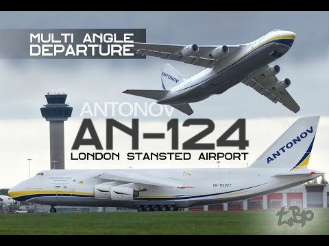 ANTONOV AN-124 (AN124) Takeoff departure London Antonov 124 Giant Cargo Airplane