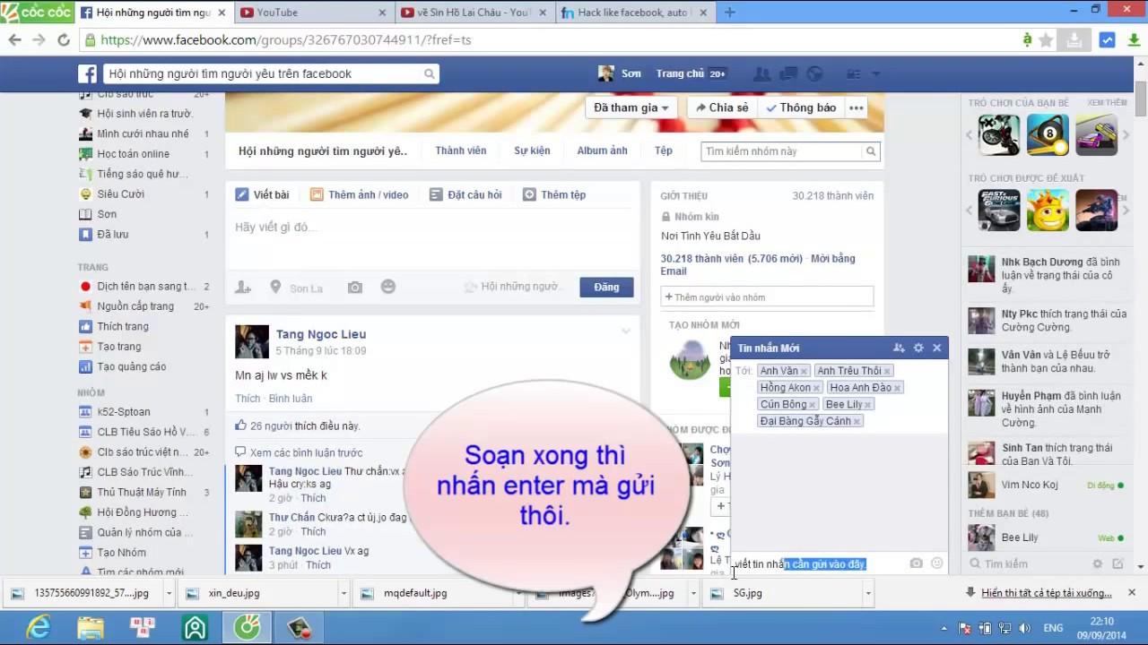 Cách gửi 1 tin nhắn cho nhiều người trên facebook