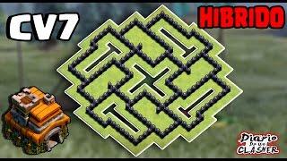 Melhor layout para Cv7 Híbrido/Farm [Best Th7 Hybrid Base] - Clash of Clans