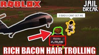 RICH BACON HAIR Trolling in Jailbreak PART 2| Roblox Jailbreak