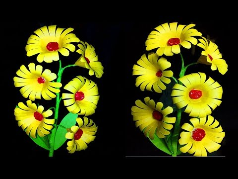 Yellow paper flower crafts | How to make paper flowers easy | DIY Paper Flowers