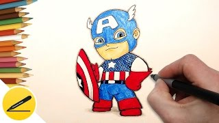 How to Draw Captain America (Chibi) step by step | Draw Captain America | Art Lessons