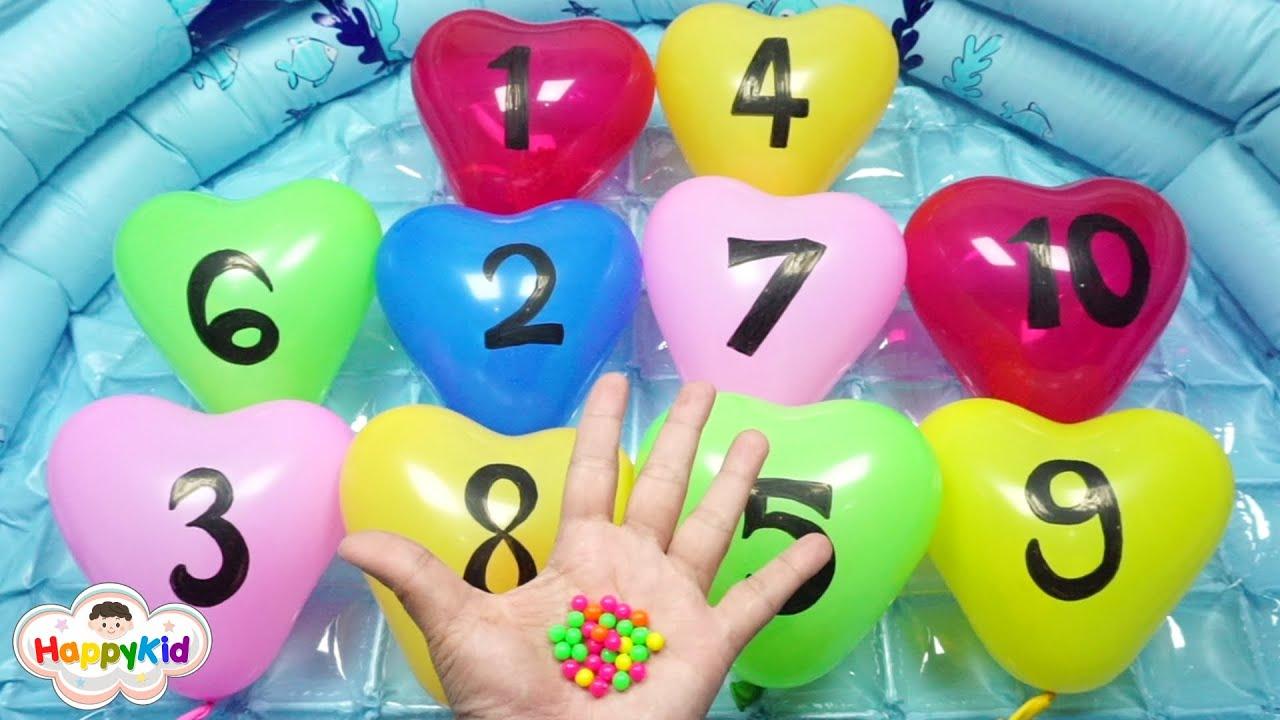 เจาะลูกโป่งตัวเลขรูปหัวใจทั้ง 10 ใบ มาเรียนรู้ตัวเลขอารบิกกันค่ะ   เรียนรู้เลข 1-10   HappyKid