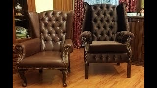 Кресло своими руками Часть 4 (Оббивка подлокотника и ушей поролоном)  DIY armchair