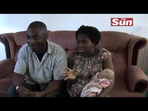 White nigerian baby has family White Baby