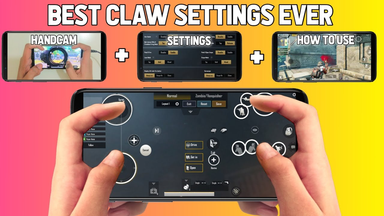 PUBG MOBILE BEST 4 FINGER CLAW SETTINGS EVER
