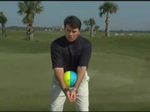 Ball golf swinging training device