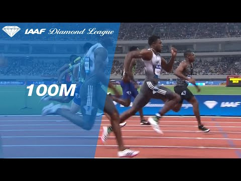 Noah Lyles catches Christian Coleman at the line in the 100m at Shanghai - IAAF Diamond League 2019