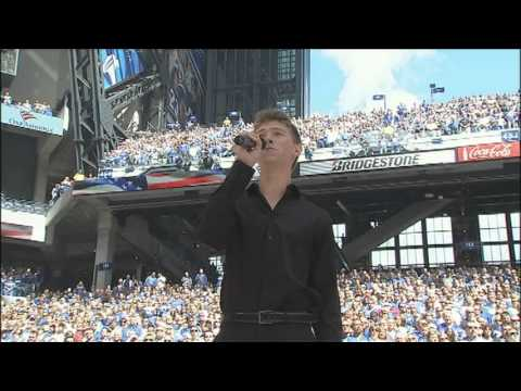 Great American Songbook Youth Ambassador, Nick Ziobro, sings National Anthem at Colts Game