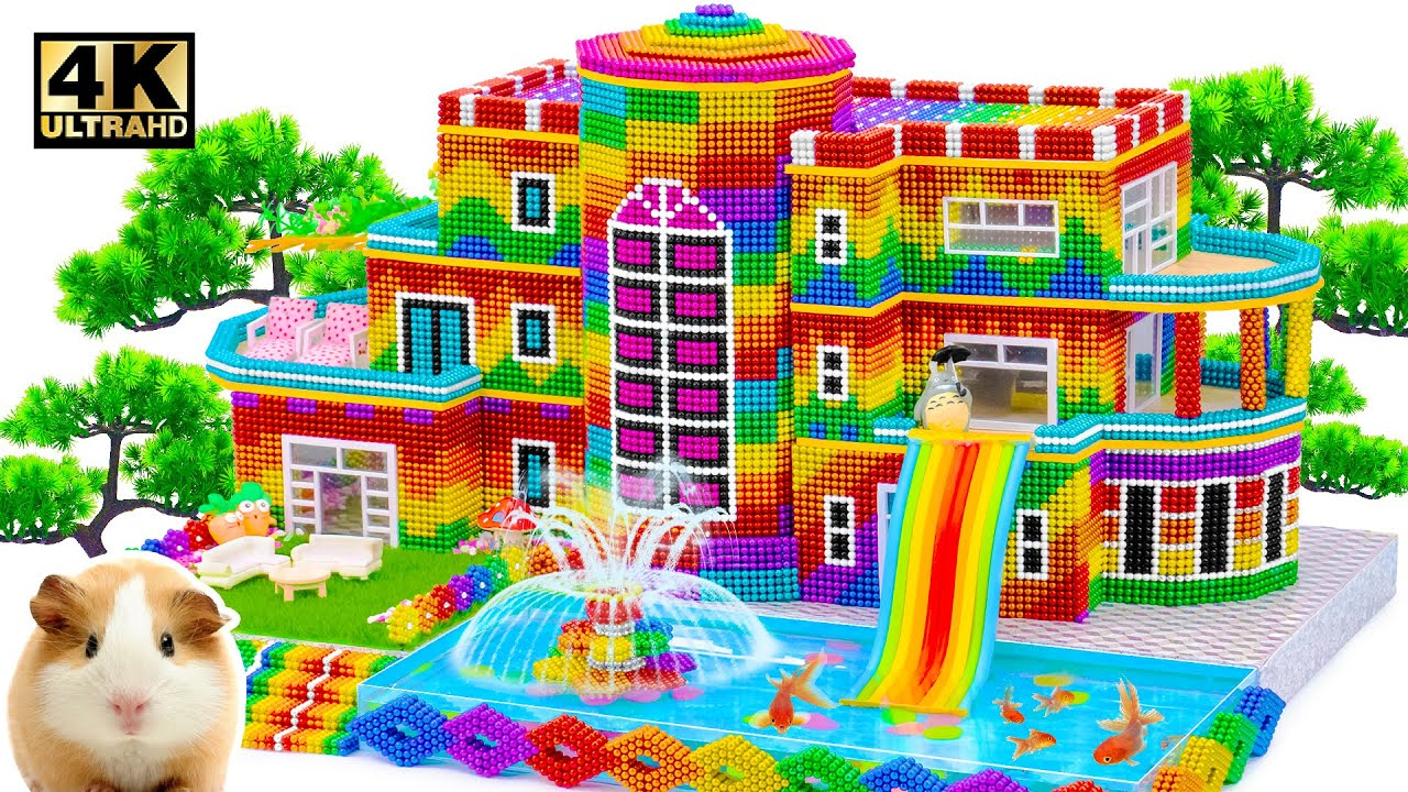 How To Build Mini Villa Model Have Water Slide & Fish Pond For Turtle And Cute Hamster