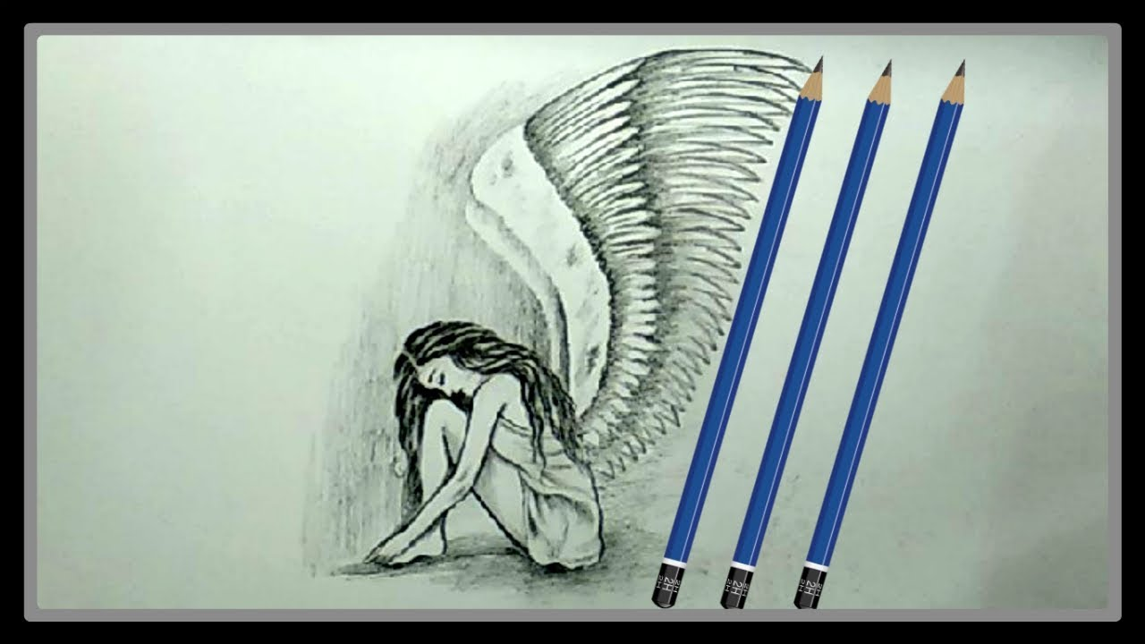 Cool easy drawings pencil drawing a beautiful sad fairy picture ➤easy