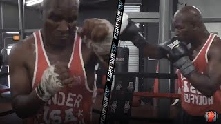 EVANDER HOLYFIELD TRAINING FOR MIKE TYSON COMEBACK FIGHT? LOOKS IN TERRIFIC BOXING SHAPE!