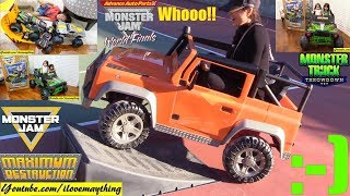 Monster Jam Trucks Ride-On Power Wheels! Kids' Grave Digger Ride-On and Toy Trucks! Toys!