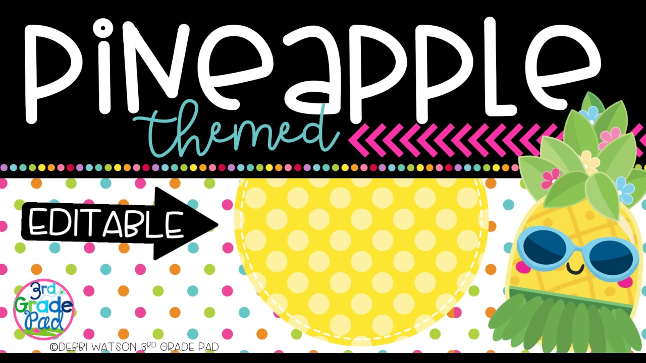 Editable Classroom Decor ~ Editable pineapple classroom decor labels youtube