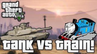 GTA V: Tank VS Train! (GTA 5 Funny Moments)