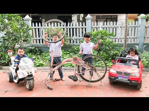 Kids go to School Learn | The creativity of Chuns With Toys Bike