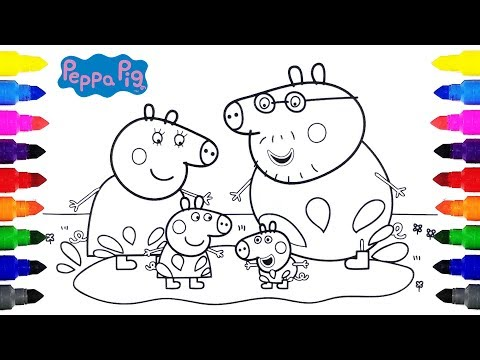 Peppa Pig Playing in Muddy Puddles Coloring for Kids