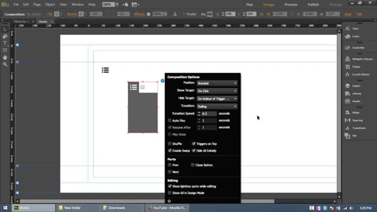How to create slick navigation menu in Adobe Muse