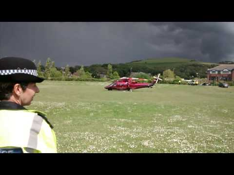 Camilla boarding the royal Helicopter in Malling Fields, Lewes