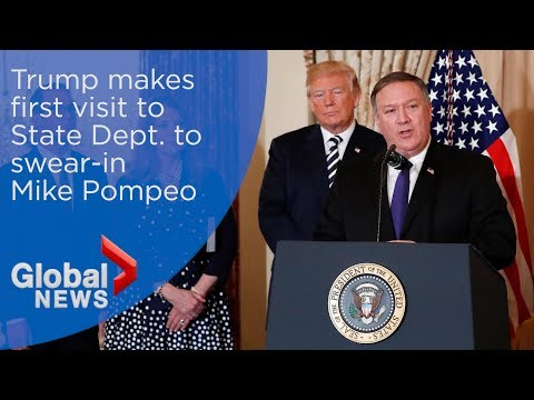 Trump makes first visit to State Dept. to swear-in Pompeo