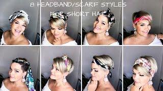 8 Ways To Style Short Hair Headband Scarfs Bandanas Youtube