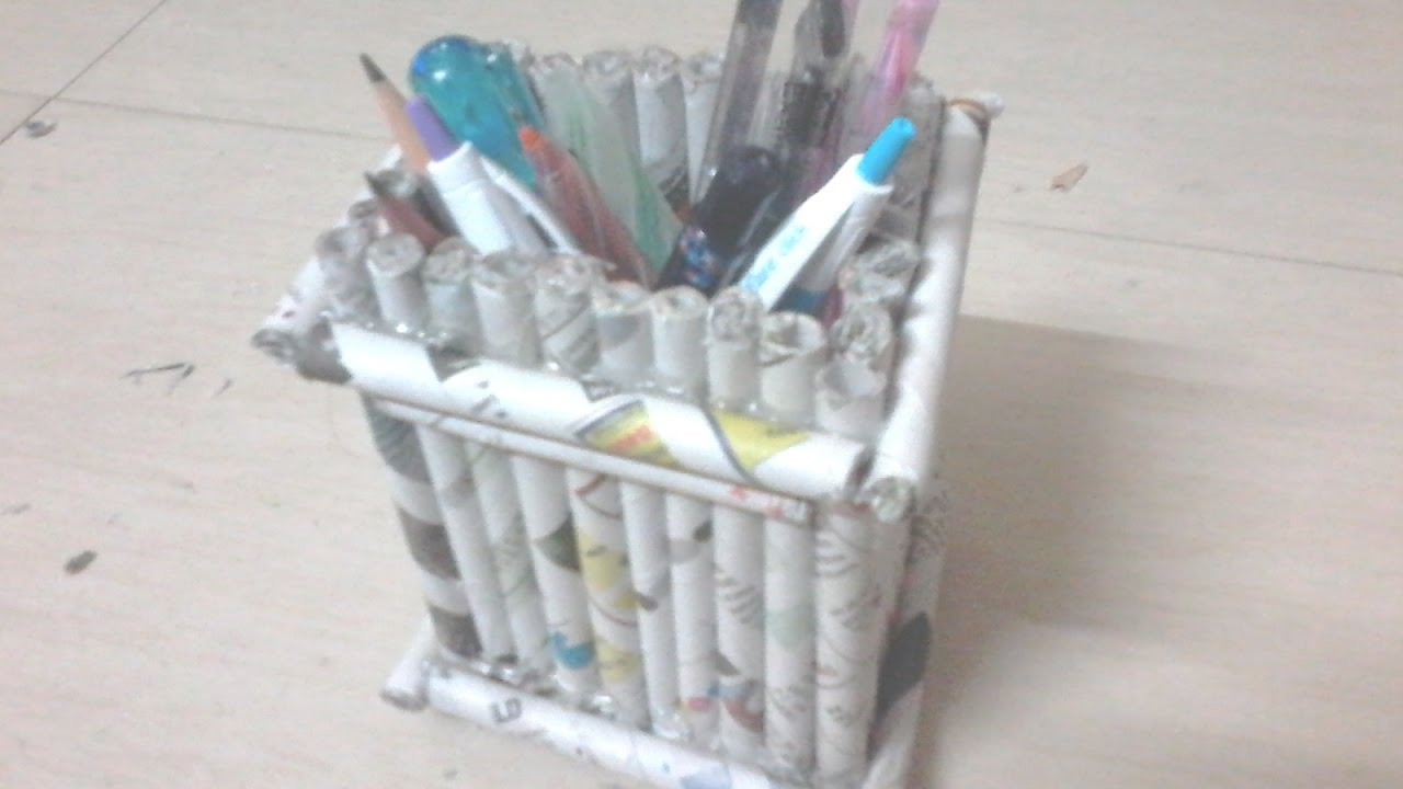 Diy How To Make Pen Stand Using Newspaper Rolls Tubes