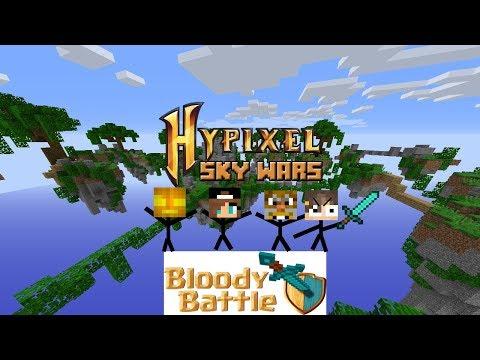 HYPIXEL SKYWARS AVEC LE STAFF BLOODY BATTLE !!! (UN STAFF ME FAIT DES DONS !)
